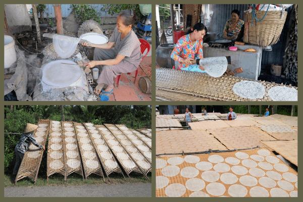 Cận cảnh các bước làm bánh tráng ở làng nghề Thuận Hưng