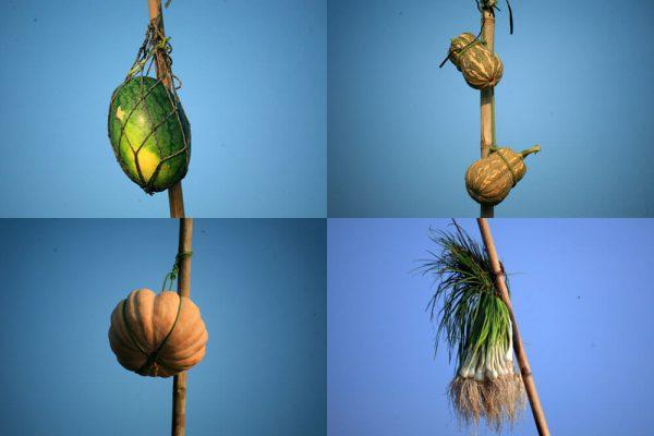 """Các loại trái cây và nông sản được treo trên những cây """"bẹo"""" vô cùng độc đáo"""