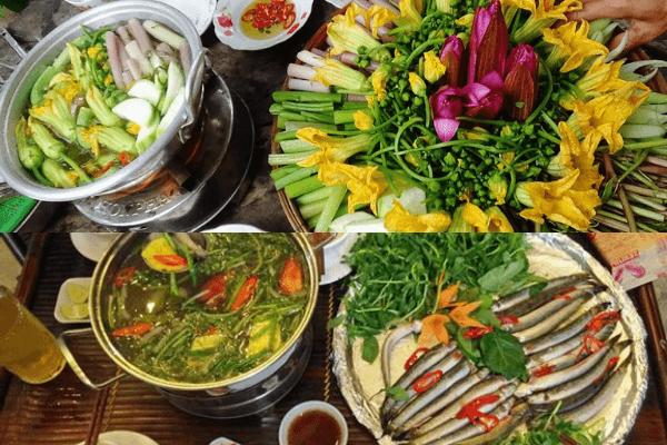 Lẩu cá kèo, cá linh ăn với các loại rau miền Tây như rau đắng, bông bí,...
