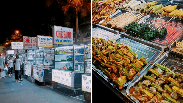 Phố ăn vặt tại Chợ đêm Ninh Kiều có rất nhiều món từ ngọt đến mặn cho bạn tha hồ lựa chọn và thưởng thức!