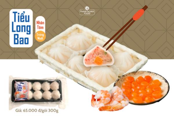 Tiểu long bao nhân tôm PHAM NGHIA FOOD có giá bán lẻ chỉ 65K/gói 300g